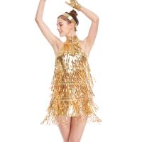 Buy cheap 4 Colors Stunning Tap Costume Sequined-Fringes Mock Neck Dance Dress Performance from wholesalers
