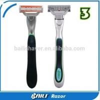 Quality No Electric Portable Triple Blade Razor with vitamin E Lubricating Strip for sale