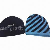 Quality 100% Acrylic Knitted Children's Hats, Customized Sizes and Colors are Welcome for sale