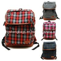China Pretty Check Cotton Canvas Fashion Backpack for High School Girls (HS5462) on sale