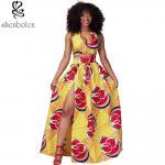 Quality Sexy Halter Neckline Short Top African Print Dresses Maxi Ankara Wax Batik Printing for sale