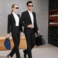 China 65% Polyester Balck Color Business Suit For Men And Women With Two Buckles on sale