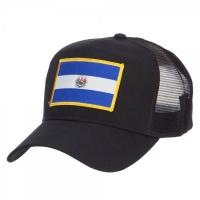 Quality El Salvador Flag Patched Embroidered Mesh Hats , Black Polyester Trucker Hat for sale