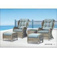 Quality Doube Person Outdoor Rattan Chairs Sofa Furniture With Small Seat For Feet for sale