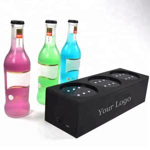 Quality Custom Plexiglass Led Liquor Bottle Display 3 - Bottle Led Acrylic Wine Rack for sale