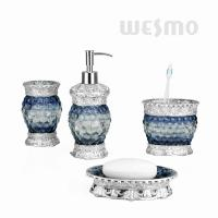 Quality Highlight Luxury Style Polyresin Bathroom Set With Blue Bubbles On Bodies (WBP0838A) for sale