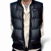 China Men's Winter Jackets with Removable Hood and Fake Leather Sleeveless, Available in Black on sale