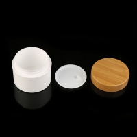Quality Pp Serum Eco Friendly Bamboo Lid Cosmetic Cream Jar for sale
