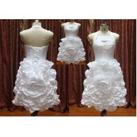 China Halter Flower Mini Ball Gown Lace up Closure Real Sample Wedding Dresses / Bridal Gown on sale