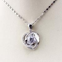 China Sterling Silver Clear Cubic Zirconia Heart Shape Pendant Necklace (P14) on sale