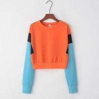 China Sports Stitching Fleece Anti Pilling Women Crop Hoodie Sweatshirt on sale