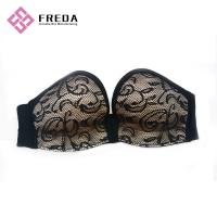 Quality Full Cup Black Lace Body fitted Strapless Backless Sticky Bra for sale