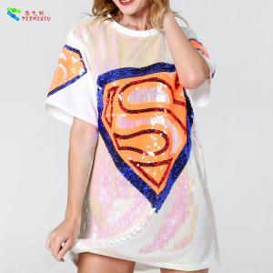 China White Color Diamond Womens Sequin Clothing Jersey Mini T Shirt Dress on sale