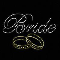 Quality Bride and ring design hot fix rhinestone transfer motif for sale