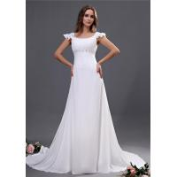 Quality Chiffon Cap Sleeves  A Line Wedding Dresses with Sweep Train / Beads , White for sale