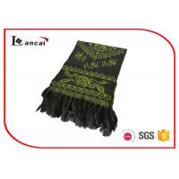 Quality 100% Acrylic Green Knitting Patterns Scarf Adults Flower Pattern Jacquard Scarf for sale