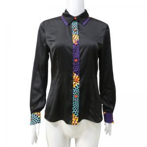 China African Print Tops Satin Patchwork Long Sleeve Wax Print Patterns Women Shirt on sale
