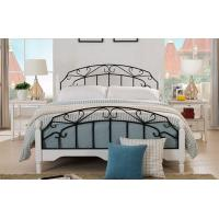 Buy cheap High End Wrought Iron Queen Bed , White Metal Frame Double Bed With Mattress product