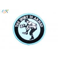 China Twill Material Embroidered Football Patches , Round Shape Iron On Baseball Patches on sale