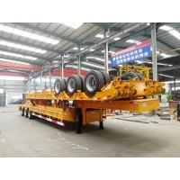 Quality 100T Low Bed Heavy Duty Semi Trailers / 3 Axle Lowboy Trailer In Mechanical Suspension for sale