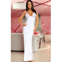 China Sexy Lingerie Wholesale White Satin Lace Natalia Long Lingerie Gown with Size S to XXXL on sale