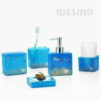 Quality Design With A Theme Of Sea 5pc Polyresin Bathroom Set With Glass Cup ( WBP0807A) for sale
