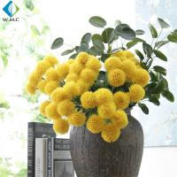 Yellow White Fake Flower Bouquet , Ball Shape Artificial Chrysanthemum Flowers for sale