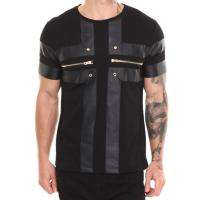 China Men tshirt design with zipper and leather scoop neck t shirt for men on sale