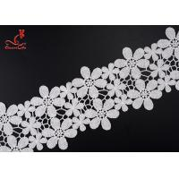 Buy cheap Beautiful Flower White Embroidered Lace Trim For Wedding Dress from wholesalers