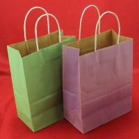 Quality Foldable Green kraft paper bag , Recyclable twisted handle paper bags for sale