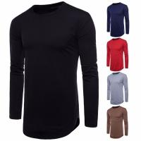 Quality China factory wholesale cheap men blank longline curved hem long sleeves t shirt for sale