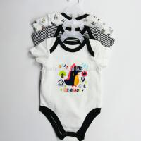 Quality Soft Cotton Unisex Newborn Baby Bodysuits 3pcs For 0 - 9M Baby OEM Service for sale