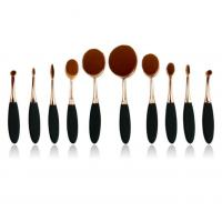Oval shaped Professional Makeup Brush Set with rose gold handle