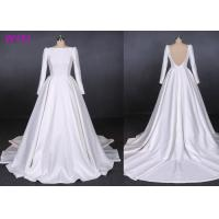 Quality Satin Hepburn Backless Beige Wedding Dress For Custom Order , Anti - Static for sale