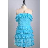 Wholesale Black/blue strapless cotton short dress prom dress with polka dot