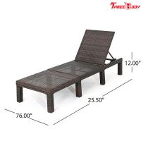 Buy Polyethylene Wicker Outdoor Patio Lounge Chairs Without Cushion 76.60 * 25.50 * 12.00 Inches at wholesale prices