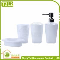 Quality Cheap Price 4 Pcs Plastic Bathroom Set With Lotion Dispenser Soap Dish Toothbrush Cup Tumbler for sale