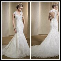 Quality Vintage Romantic Lace Wedding Gowns , Mermaid Dresses Open Back Bridal Gowns for sale