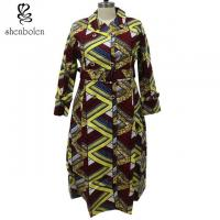 Quality Wax Printed African Ladies Jackets And Coats With Belt Pockets Long Sleeve for sale