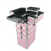 Quality 4 In 1 Aluminum Makeup Trolley Case in Pink  Color, Pink Pro Makeup Trolley Case for sale