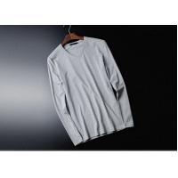Quality V Collar Pure Cotton Mens Long Sleeve Tee Shirts White Tight Top Autumn Clothing for sale