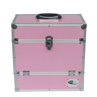 Quality Pink aluminum storage case record LP 50 case empty interior for DVD or accessories for sale