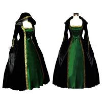 Quality Medieval Dress Wholesale Long Sleeve ROCOCO Ball Grown Gothic Medieval Victorian in Green and Black by Satin and Velvet for sale