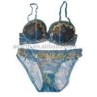 Buy cheap Eco-Friendly Nylon / Bamboo Fiber OEM Embroidered Adults Matching Bra And Underwear Sets product