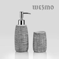 Quality Black Color Full With Unordinary Small Checks Porcelain Bath Accessories (WBC0644B) for sale