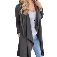Viscose Blends Womens Long Cardigans Solid High Low Long Sleeve Open Front