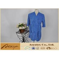 Quality Leaf brushed terry kimono style Fleece Bathrobes for spring with absorb water fabric for sale