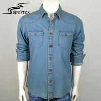 Quality Cowboy Blue Jean Long Sleeve Shirt Denim Fabric Type XS - 2XL Size Free Samples for sale
