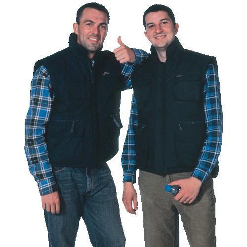 Buy Black warm Winter Uniform Work Shirts mens cotton vest with zipper at wholesale prices