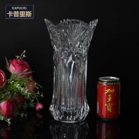 """11"""" Tall diamond pattern Vintage lage high Clear glass vases China wholesale supplier"""